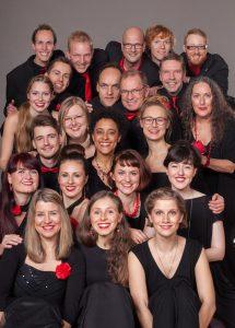 Jazzchor Freiburg Hochformat, black and red